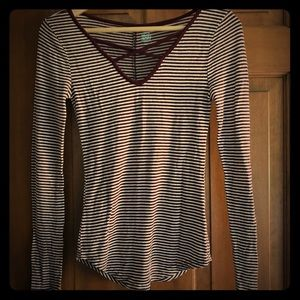maroon striped long sleeve